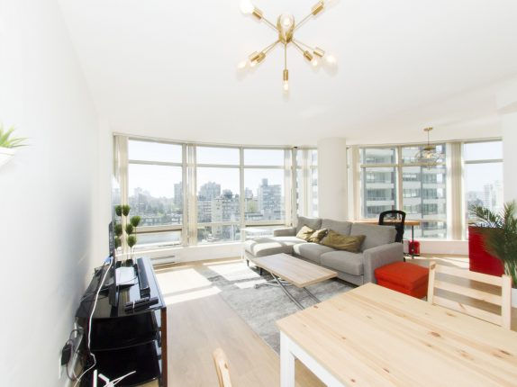 bright two bedroom condo near coal harbour