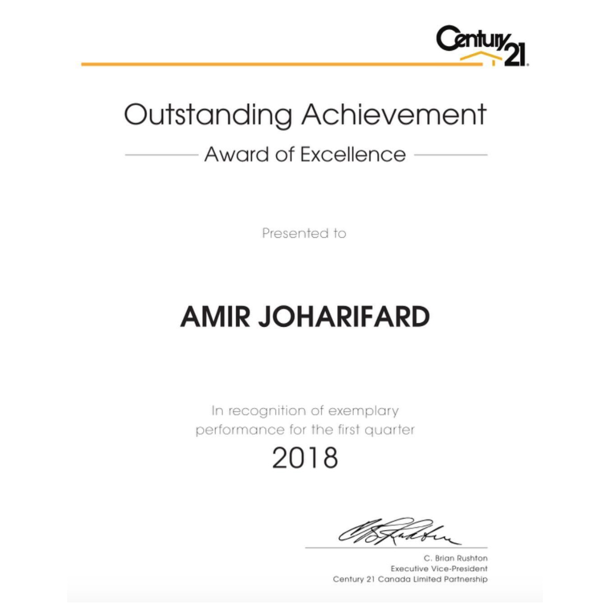 Out standing achievement 1st quarter 2018