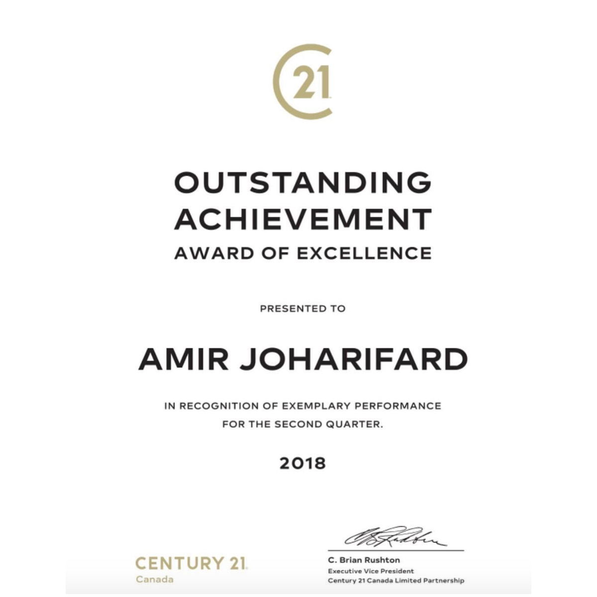 Out standing achievement 2nd quarter 2018